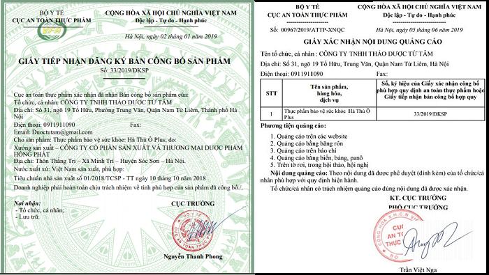 giấy phép bộ y tết cấp lưu hành sản phẩm hà thủ ô plus